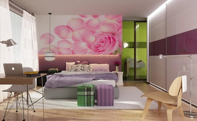 1-fototapet cu trandafir roz si petale rasfirate de vant decor dormitor modern