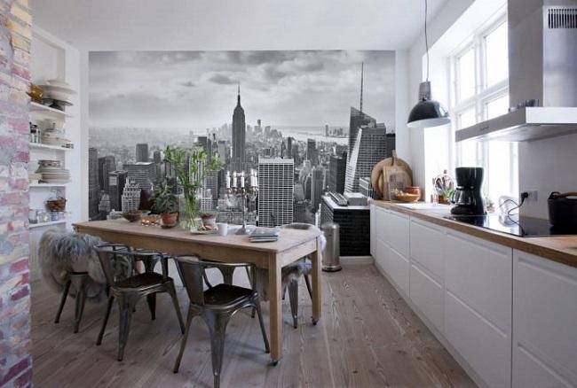1-fototapet imagine urbana in alb si negru decor bucatarie moderna