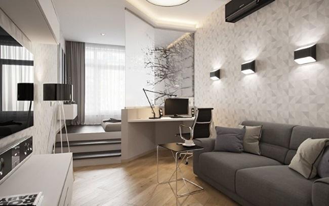 1-idee amenajare garsoniera open space cu dormitor si living