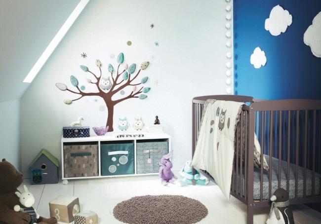 1-idei amenajare camera bebe baietel la mansarda