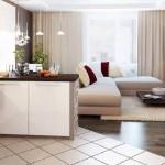 Variante de imbinare a parchetului cu gresia in livinguri open space