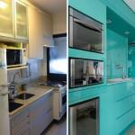 Bucatarie moderna cu mobilier turcoaz intr-un apartament open space