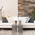 1-inainte si dupa perete finisat cu placi lemn reciclat Artis Wall
