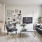 Un superb apartament scandinav decorat cu caramida aparenta