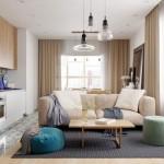 1-living cu bucatarie open space apartament camere amenajare moderna