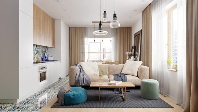 1-living cu bucatarie open space apartamen2 camere amenajare moderna