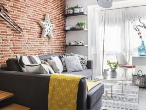 1-living cu perete placat cu caramida aparenta