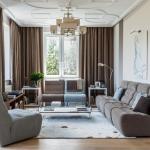 1-living frumos cu draperii maro si canapele gri
