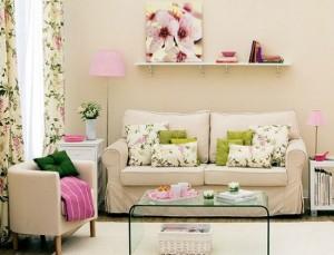 1-living mic decor crem bej si textile cu imprimeu floral