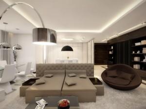 1-living modern amenajat si decorat in alb si maro