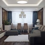 Apartament amenajat in tonuri de gri si maro si decorat cu lemn si caramida aparenta