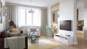 1-living modern colorat apartament mic 45 mp