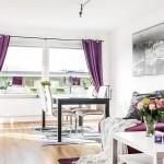 1-living modern cu accente mov apartament cu 3 camere