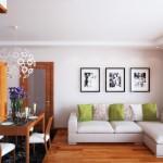 1-living modern decorat cu tablouri si dotat cu o lustra mare si frumoasa