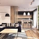 1-living modern deschis spre bucatarie finisat cu lemn