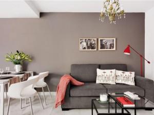 1-living modern minimalist cu canapea gri si accente rosii