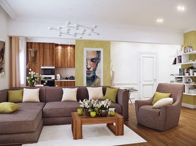 1-living open space decorat in crem maro si verde olive