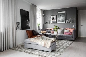 1-living scandinav cu perete de accent gri si diverse accente colorate