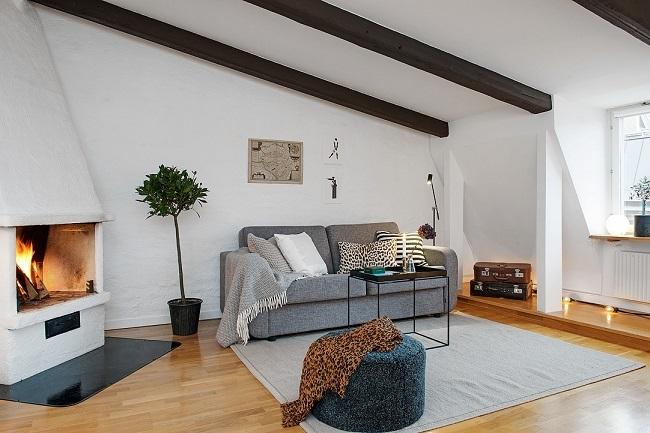 1-living stil scandinav cu semineu apartament mansarda