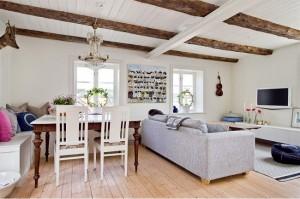 1-masa veche din lemn masiv decor living open space modern