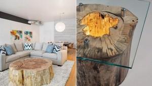 Mobilier si decoratiuni handmade din bucati de lemn in amenajari