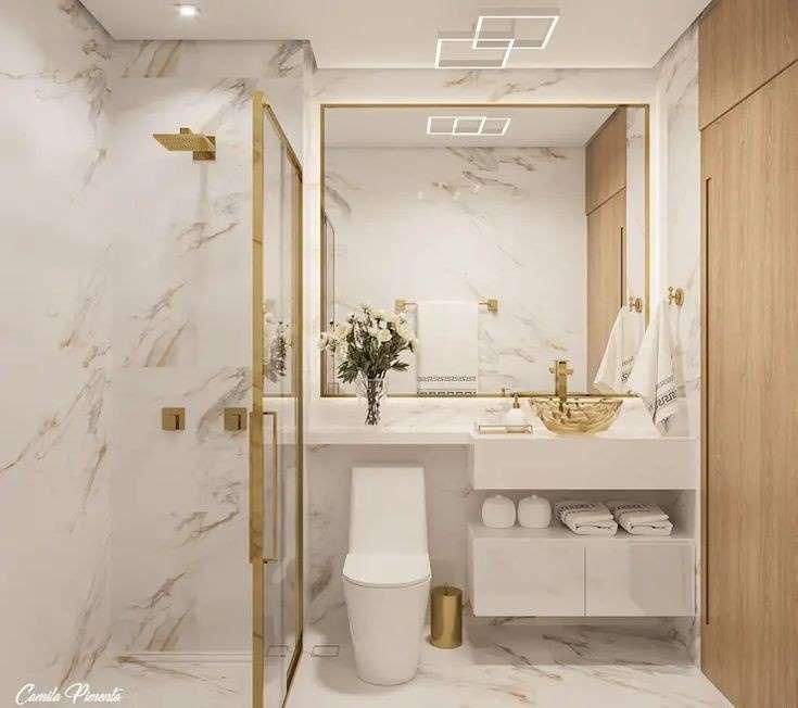 1-mobila-alba-suspendate-decor-baie-moderna-marmura-accente-aurii