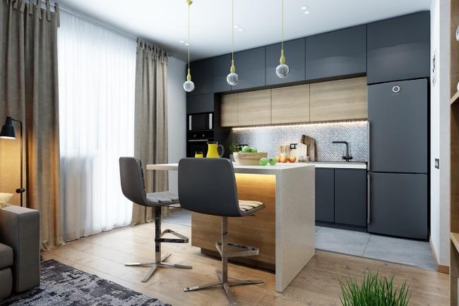 1-mobila bucatarie gri cu lemn amenajare open space apartament