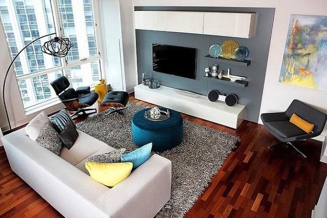 1-mobila modulara alb si gri decor perete tv living modern
