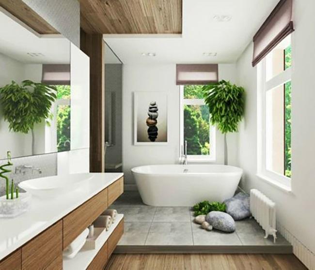 1-model baie frumoasa stil minimalist amenajata cu lemn si travertin