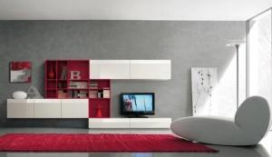 1-model biblioteca moderna modulara fixa in alb si rosu