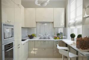 1-model bucatarie moderna mobila crem lucios si blat alb
