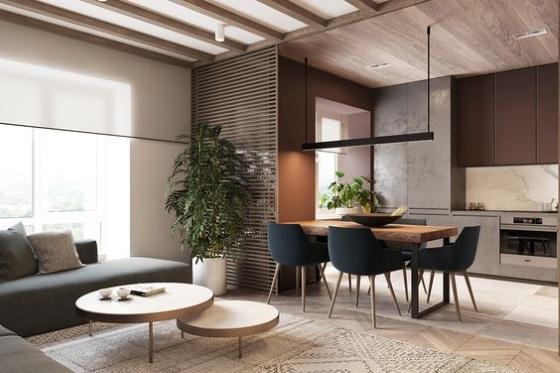 1-open space cu loc de luat masa intre bucatarie si living
