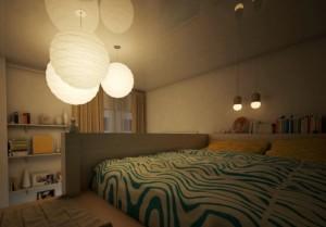 Exemplu de amenajare a unui dormitor matrimonial cu scara interioara