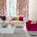 1-perdele imprimeu floral ciclam decor living modern