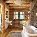 1-piatra naturala si lemn in finisarea si decorarea unei bai rustice