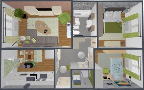 1-propunere amenajare apartament 3 camere modern accente vernil