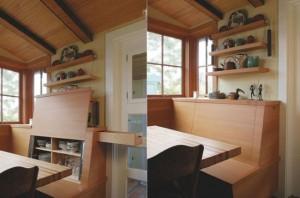 1-rafturi pentru farfurii ascunse in spatarul coltarului de bucatarie