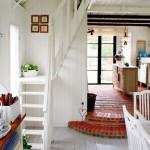 1-scara de interior din lemn compacta cu doua rampe pentru casa mica