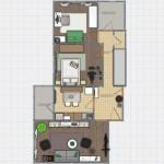 1-schita propunere amenajare apartament living si 2 dormitoare Aida