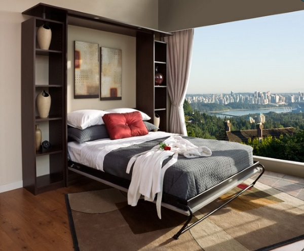 1-set mobila living cu pat rabatabil integrat intre doua etajere