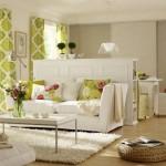 1-sufragerie decorata in alb si vernil impartita in mai multe arii de interes