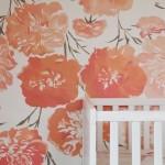 1-tapet decorativ imprimeu floral culoare piersica