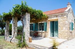 1-terasa cu pergola cu vita de vie casa mica din piatra 60 mp