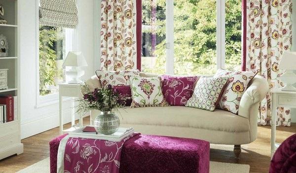 1-textile in combinatii de grena cu verde olive si alb amenajare living