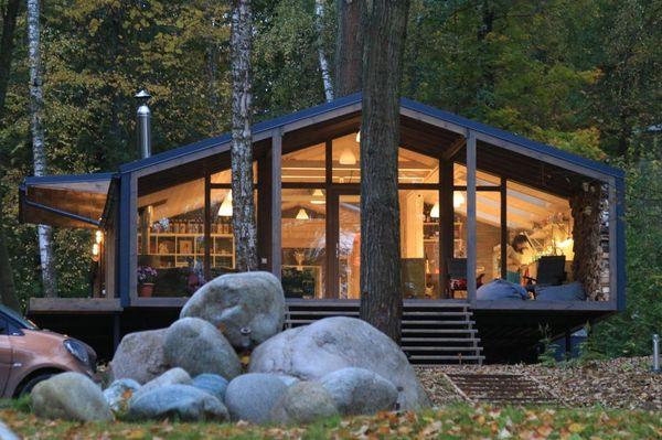1-vedere din exterior casa prefabricata din lemn structura metalica doar parter DublDom