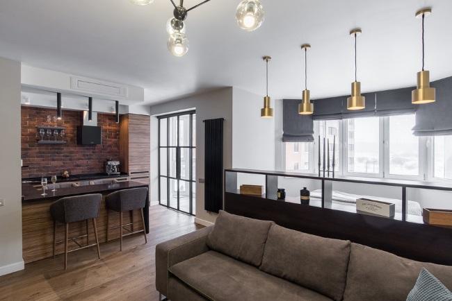 1-vedere din living spre bucatarie open space si balcon apartament 47 mp stil industrial