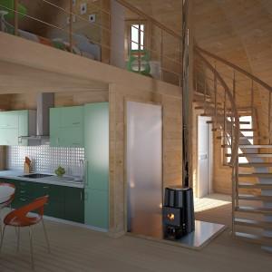 1-vedere parter interior dom 70 mp cu scara interioara