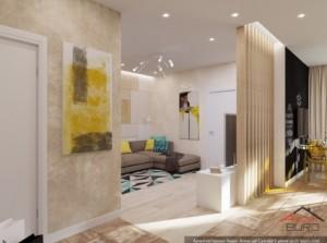 1-vedere spre zona de living a noului apartament cu 2 camere