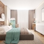 10-accente bleu in decorul dormitorului amenajat in alb gri bej si finisat cu caramida aparenta