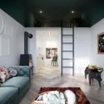 10-apartament mare cu tavane inalte si dormitor amenajat deasupra bucatariei